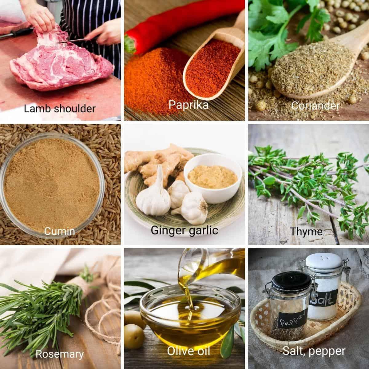 Ingredients needed to make lamb roast shoulder.