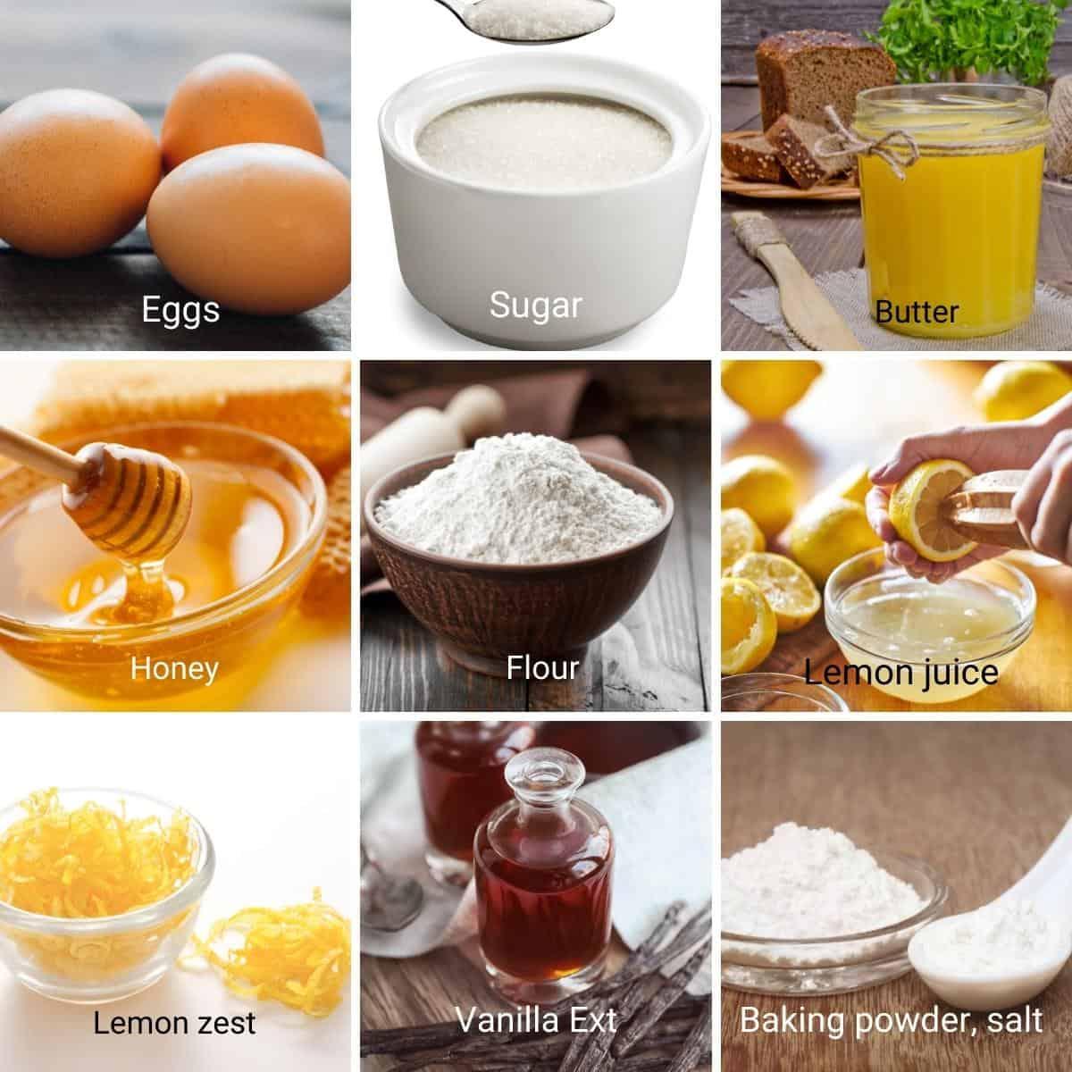 Ingredients for making vanilla madeleines.