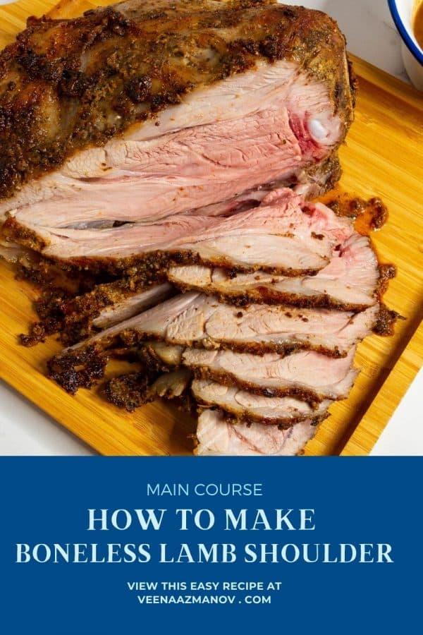 Pinterest image for lamb roast shoulder boneless.