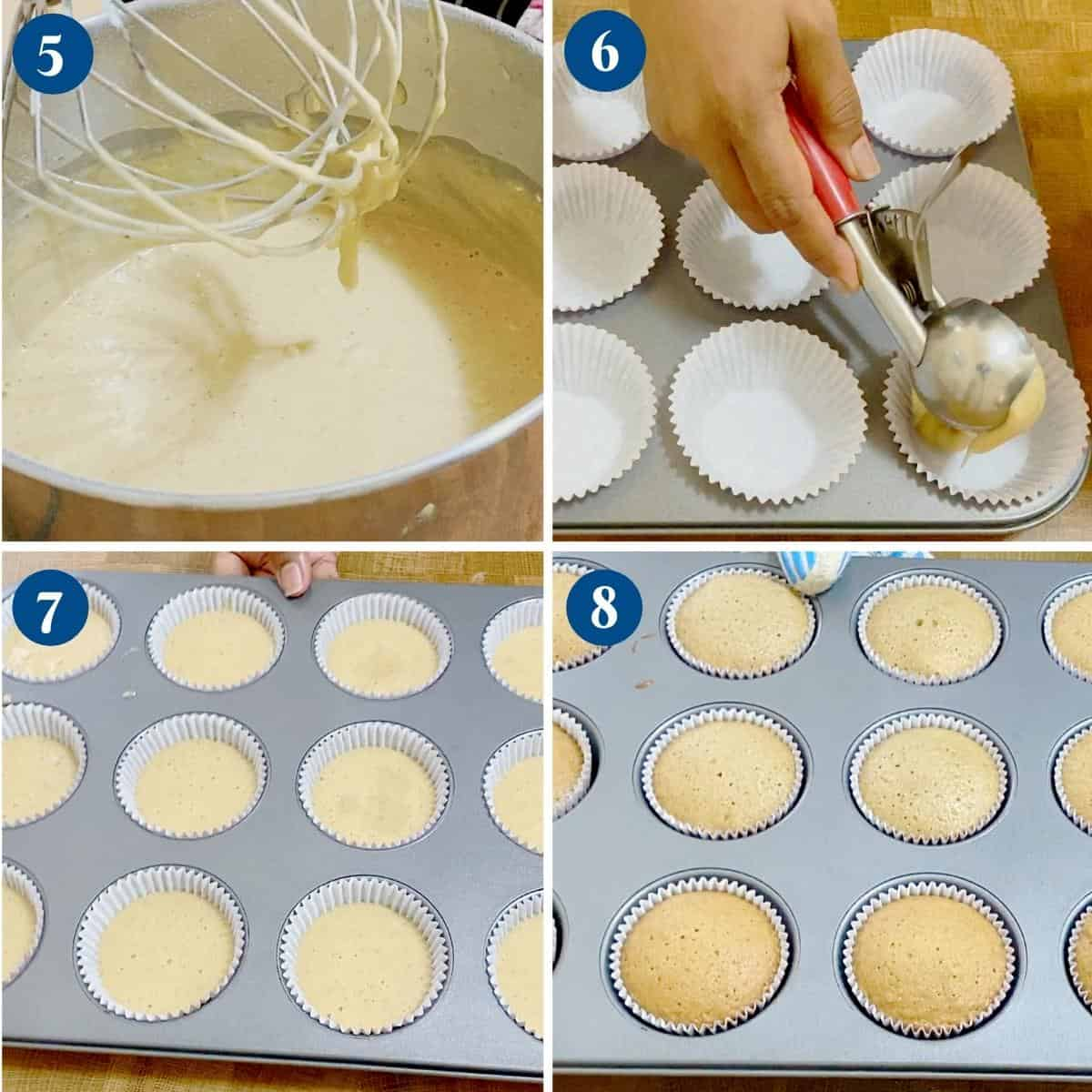 Progress pictures filing the cupcake liners with batter.