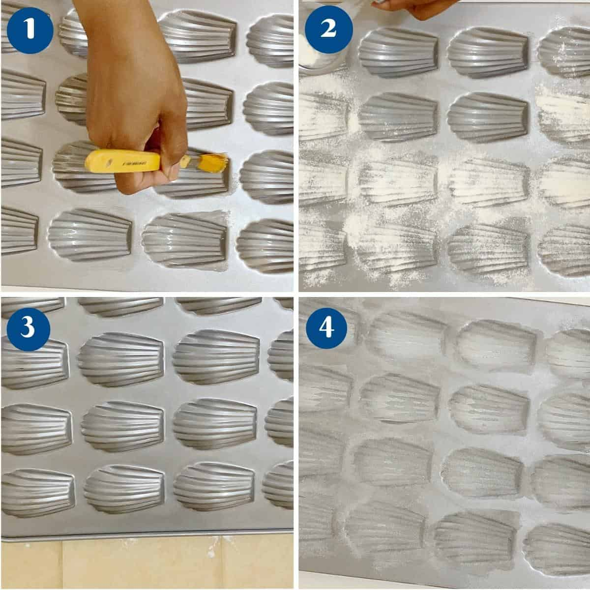 Progress pictures preparing the madeleine shell shaped pan.