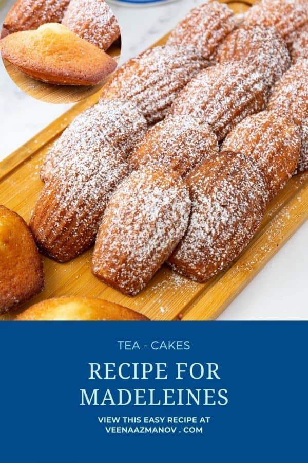 Pinterest image for madeleines recipe.