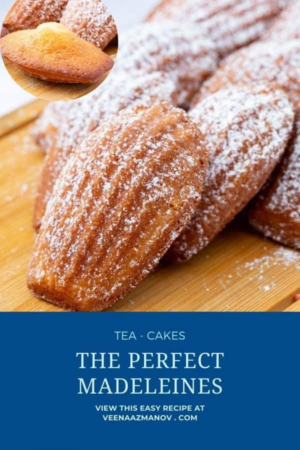 Pinterest image recipe for madeleines.