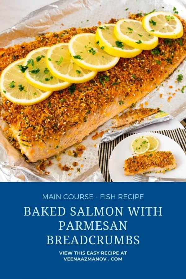 Pinterest image for parmesan crusted salmon.