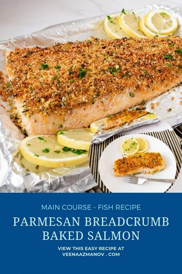 Pinterest image for breadcrumb crusted salmon.