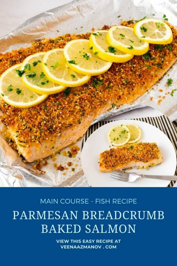 Pinterest image for salmon with parmesan.