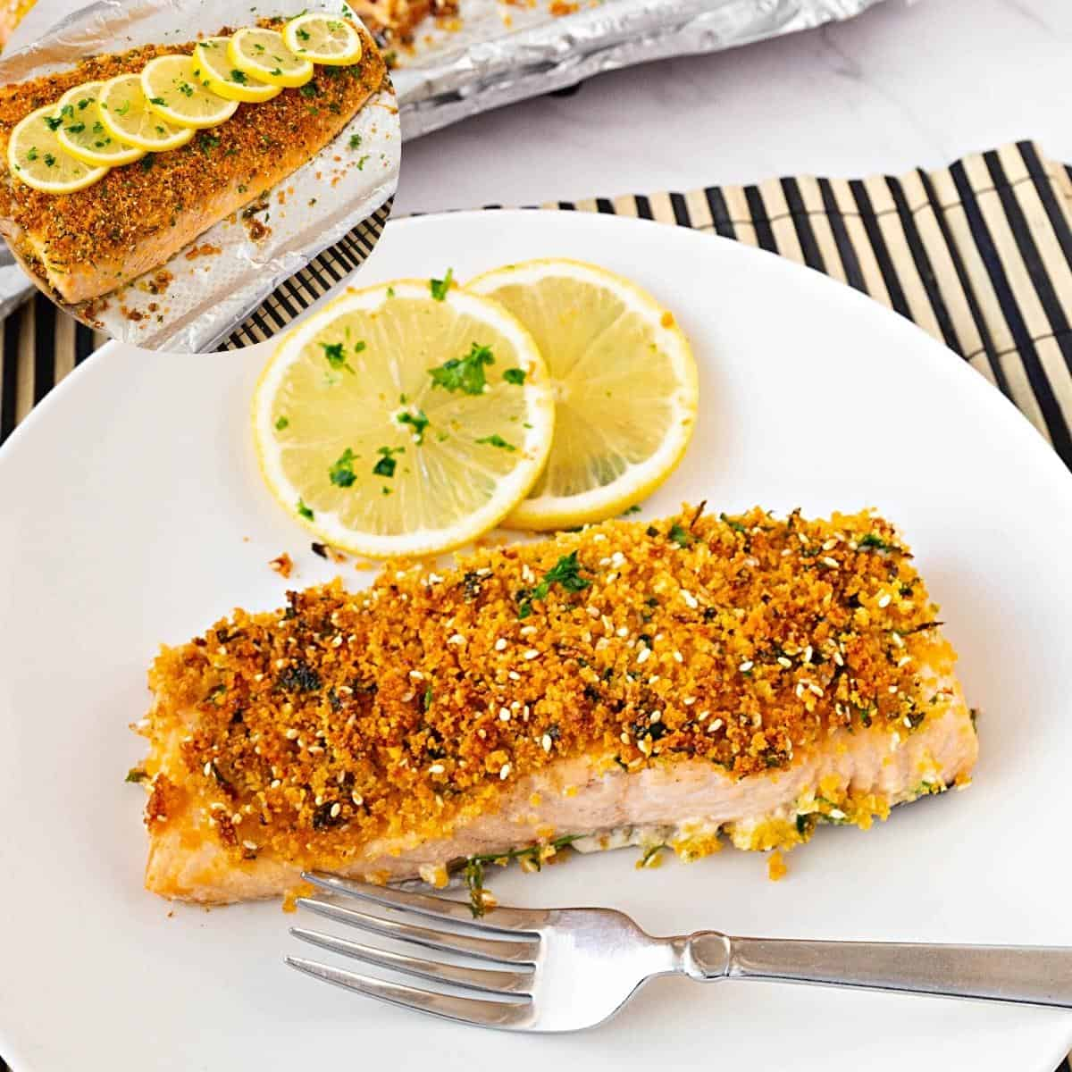 A slice of salmon on a plate topped with breadcrumbs.