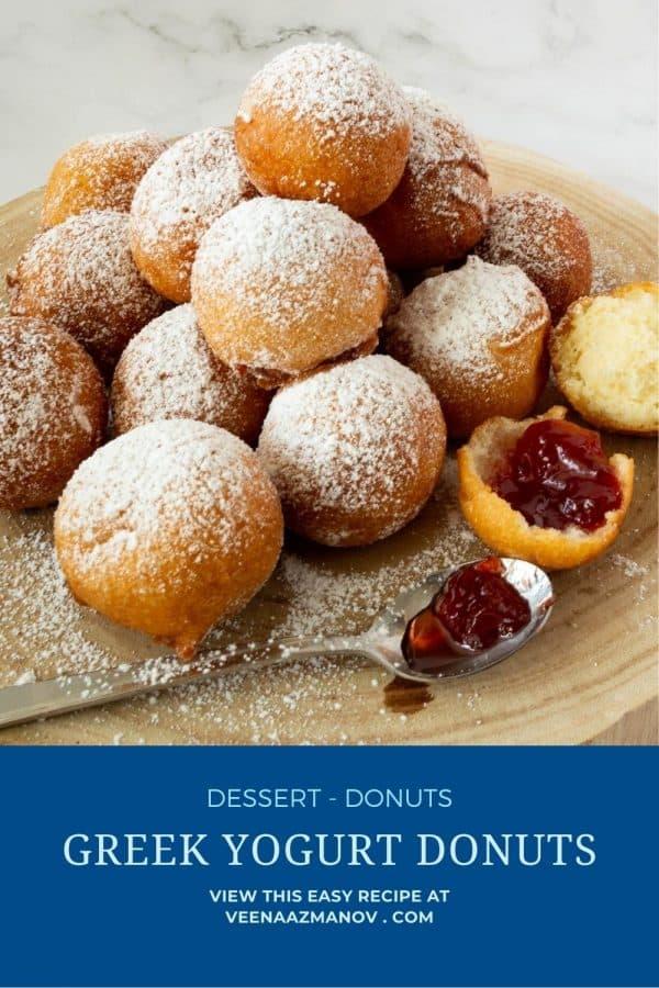 Pinterest image for yogurt donuts.