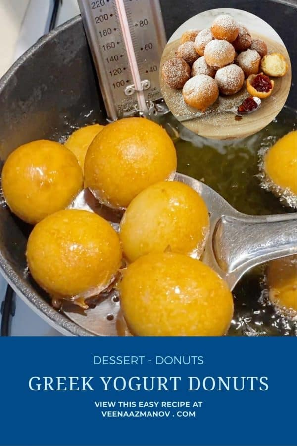 Pinterest image for deep fried donuts.