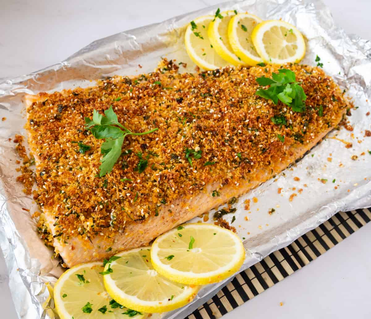 Baking tray with breadcrumb crusted salmon.