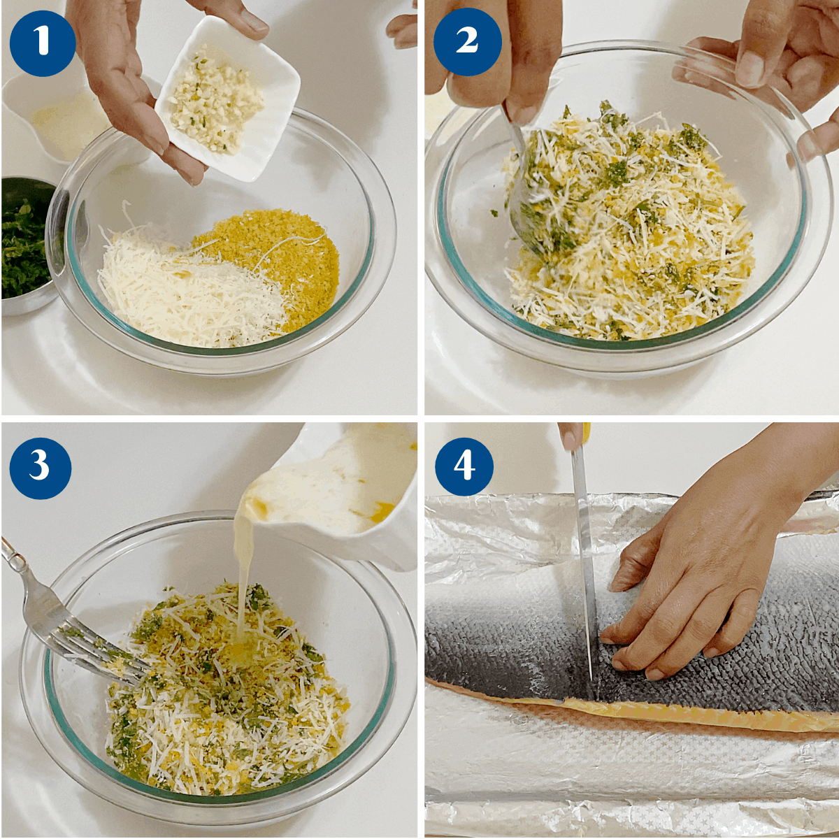 Progress pictures making the breadcrumbs with parmesan for salmon.