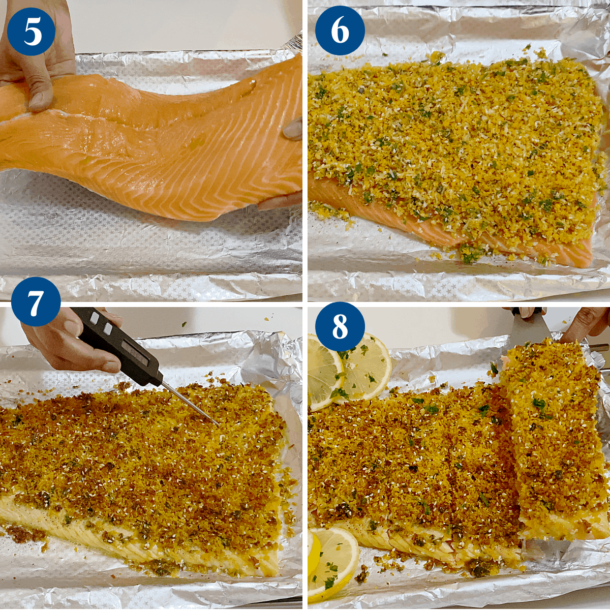 Progress pictures baking the salmon with parmesan.