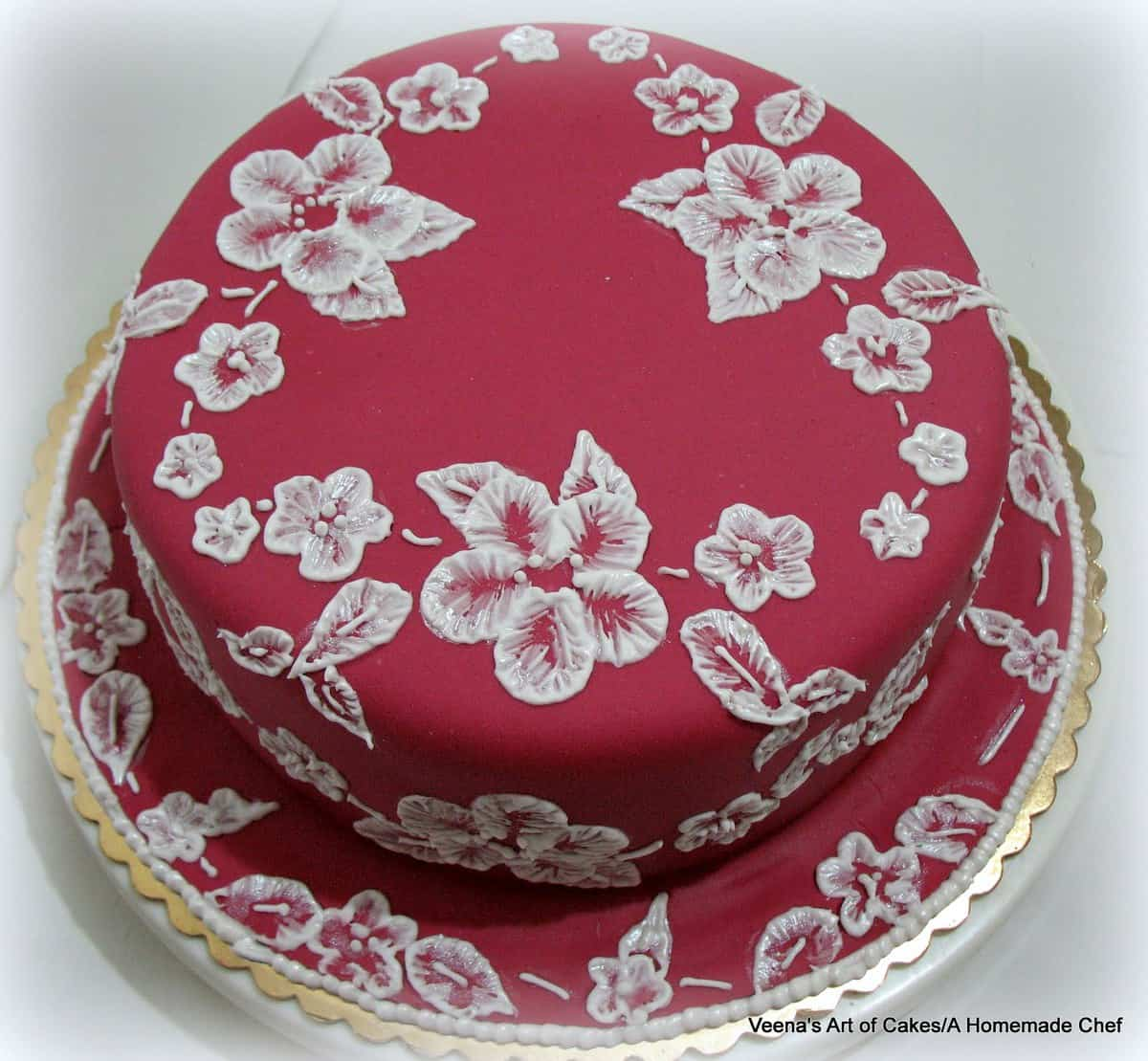 A cake with royal icing brush embroidery