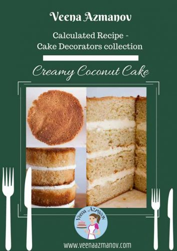This creamy Coconut cake is rich with a soft crumb and light texture. It is stable to use in a tiered cake, covered in fondant or a simple tea time snack.