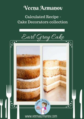 The light texture and flavor of this delicious and fragrant earl grey cake pairs very well with Vanilla or Lavender Buttercream as well as an orange marmalade filling.