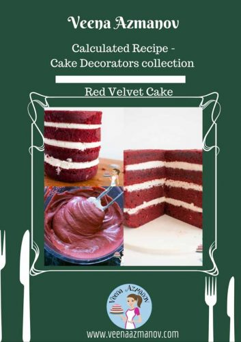 Perfect Red velvet cake is very rich, light and yet firm. It is quite stable and can be used in tiered cakes for weddings, as well as covered with fondant.