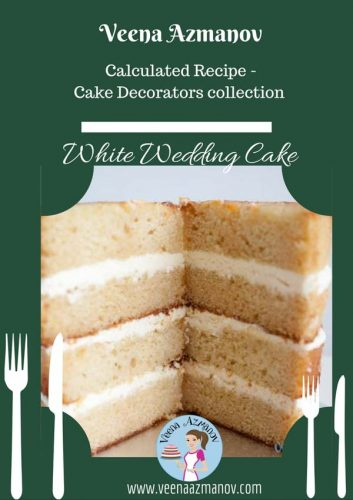 Traditional white wedding cake is a buttery cake with a soft delicate crumb that melts in the mouth. Serve it with white frosting or delicious fruit filling